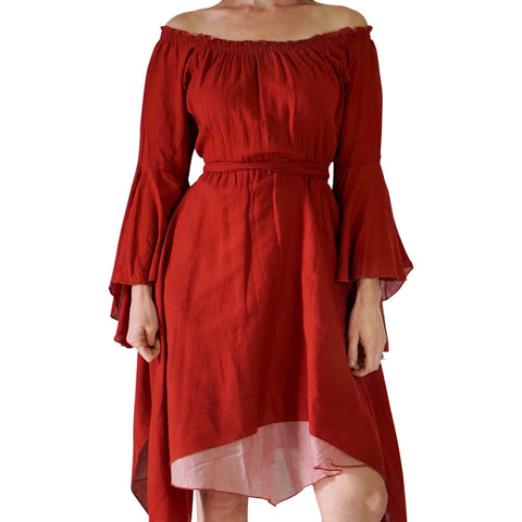 'Bell Sleeve' Renaissance Costume Dress - Burnt Orange