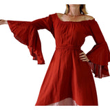 'Bell Sleeve' Renaissance Costume Dress - Burnt Orange - zootzu