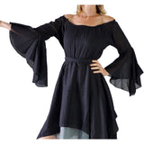 'Bell Sleeve' Renaissance Costume Dress - Black - zootzu