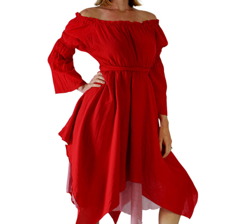 'LS Gypsy' Renaissance Festival Dress - Vivid Red