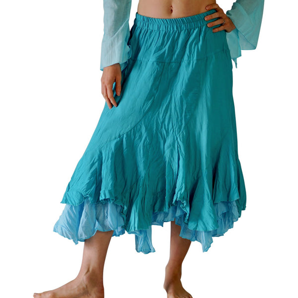 'Two Layer' Gypsy Renaissance Skirt - Light Blue - zootzu