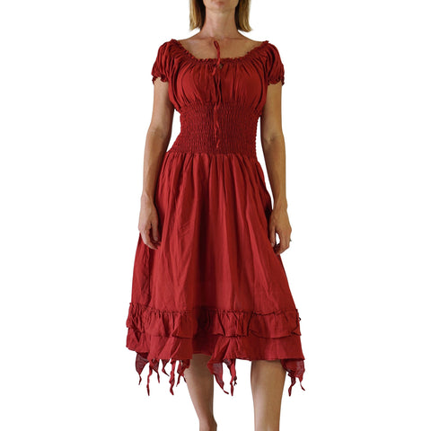 'Frill Bottom' Long Steampunk Dress - Maroon