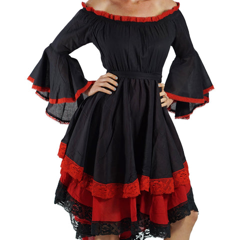 Black/Red Lace Dress Long Sleeve
