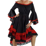 Black/Red Lace Dress Long Sleeve - zootzu