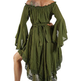 Green Lace Dress Long Sleeve - zootzu