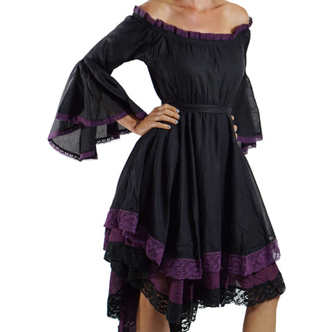 Black/Purple Lace Dress Long Sleeve