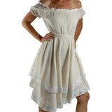 'Lace' Medieval Dress Short Sleeves - Cream/White - zootzu