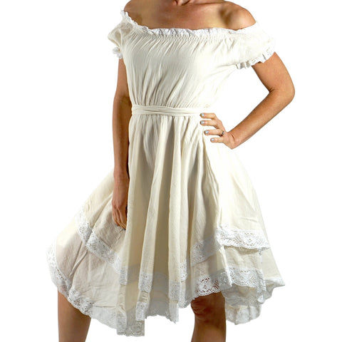 'Lace' Medieval Dress Short Sleeves - Cream/White