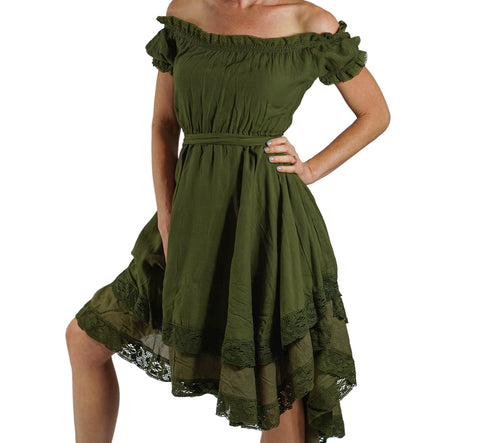 'Lace' Medieval Dress Short Sleeves - Green