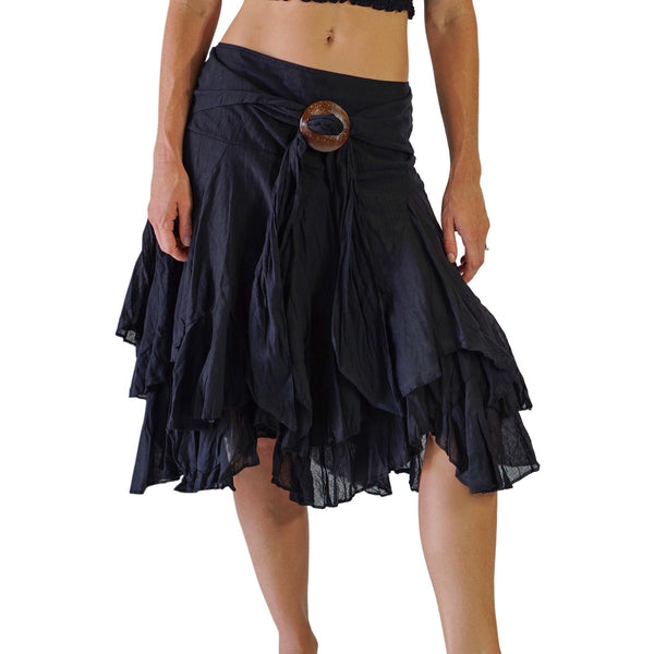 'Willow' Gypsy Pirate Skirt - Black - zootzu