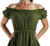 'Lace' Medieval Dress Short Sleeves - Green - zootzu