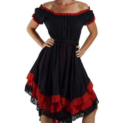 'Lace' Medieval Dress Short Sleeves - Black/Red