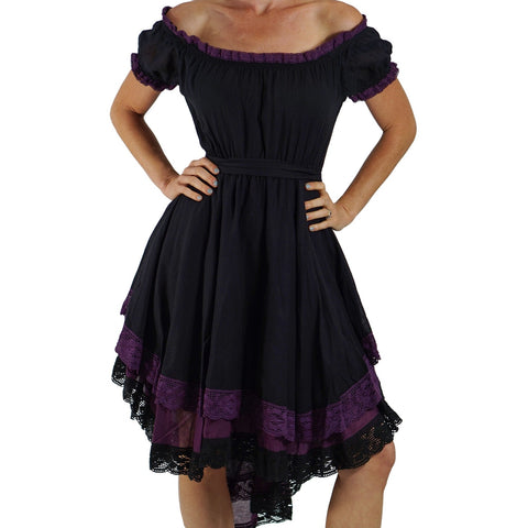 'Lace' Medieval Dress Short Sleeves - Black/Purple
