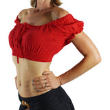 'SS Pull Tie' Gypsy Top - Red - zootzu