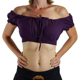 'SS Pull Tie' Gypsy Top - Purple - zootzu