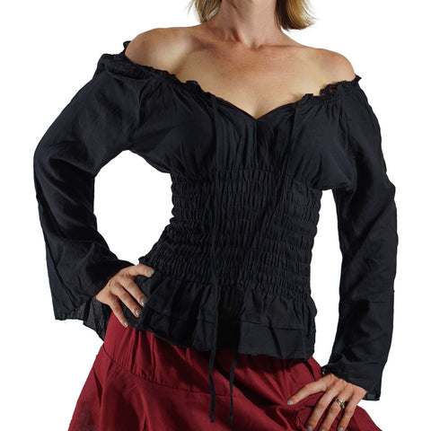 Long Sleeve Peasant Blouse - Black