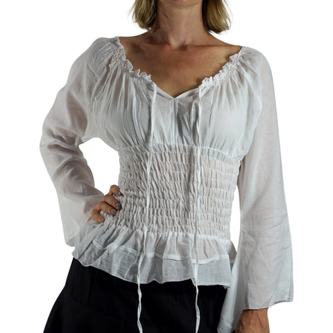 Long Sleeve Peasant Blouse - White