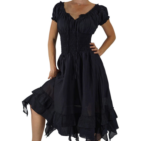 'Frill Bottom' Long Steampunk Dress - Black