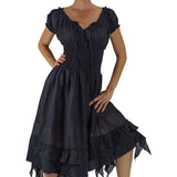 'Frill Bottom' Long Steampunk Dress - Black - zootzu
