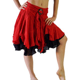 'Willow' Gypsy Pirate Skirt - Red/Black - zootzu
