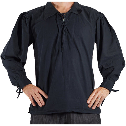 'Merchant' Renaissance Shirt - Black