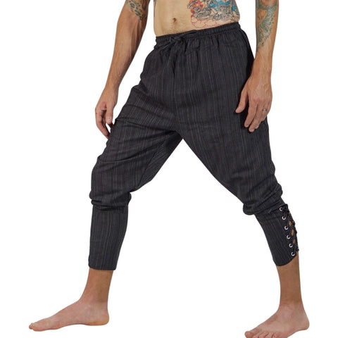 Ankle Cuff Medieval Pants - Striped Black
