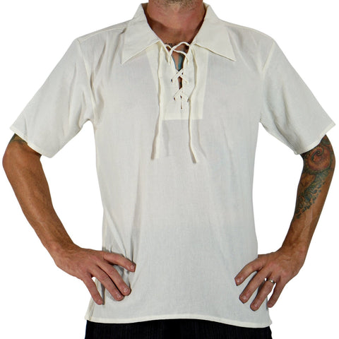 'Merchant' Renaissance Shirt, Short Sleeves - Cream/Off White