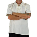 'Merchant' Renaissance Shirt, Short Sleeves - Cream/Off White - zootzu