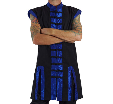Long Pirate Vest, Silk Trim - Blue