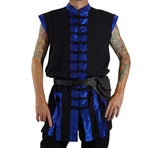 Long Pirate Vest, Silk Trim - Blue - zootzu