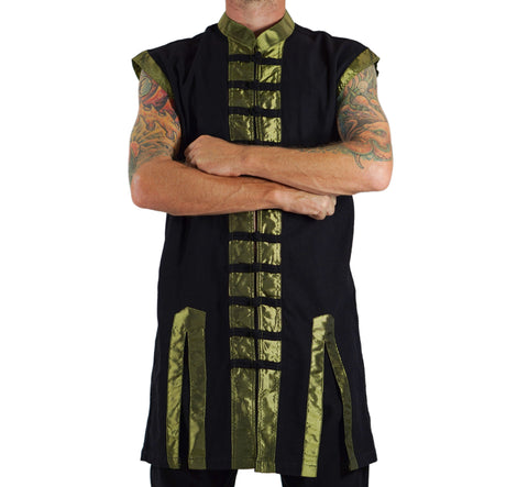 Long Pirate Vest, Silk Trim - Green
