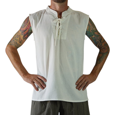 'Rogue' Medieval Sleeveless Shirt  - Cream