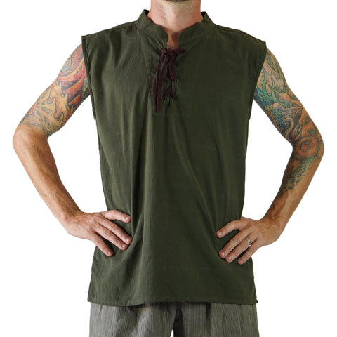 'Rogue' Medieval Sleeveless Pirate Shirt - Green
