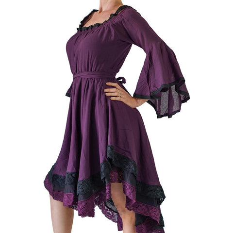 Purple/Black Lace Dress Long Sleeve