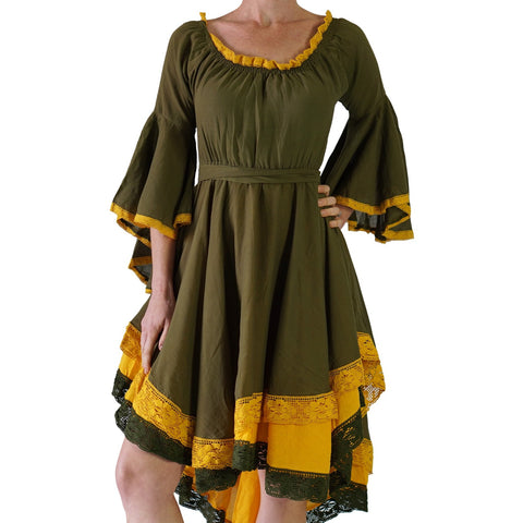 Green/Yellow Lace Dress Pirate Long Sleeve