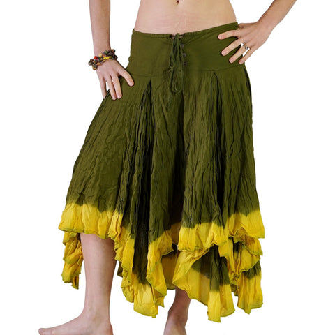 'Ombre' Long Gypsy Skirt - Green/Lime Green