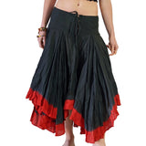 'Ombre' Long Gypsy Skirt - Black/Red - zootzu