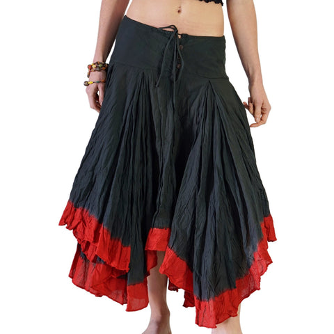 'Ombre' Long Gypsy Skirt - Black/Red