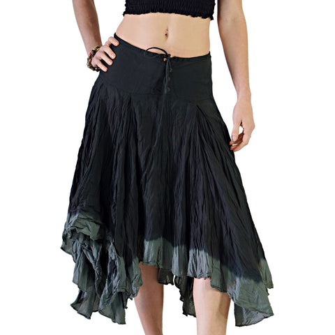 'Ombre' Long Gypsy Skirt - Black/Gray