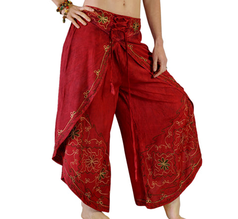 'Split' Indian Rayon Harem, Belly Dancer Pants - Red