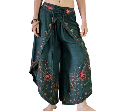 'Split' Indian Rayon Harem, Belly Dancer Pants - Green