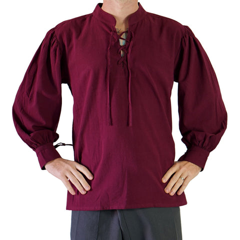 'Merchant' Renaissance Shirt, High Collar - Burgundy