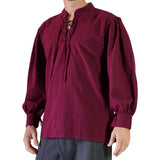 'Merchant' Renaissance Shirt, High Collar Shirt - Burgundy - zootzu