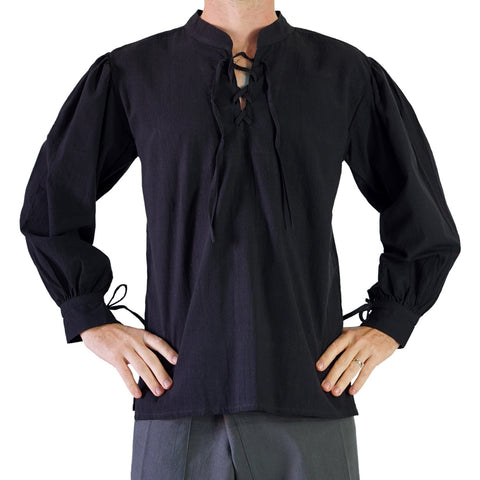 'Merchant' Renaissance Shirt, High Collar - Black