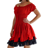 'Willow' Renaissance Gypsy Dress - Red/Black - zootzu