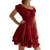 'Willow' Renaissance Gypsy Dress - Maroon - zootzu