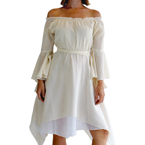 'Bell Sleeve' Renaissance Costume Dress - Cream