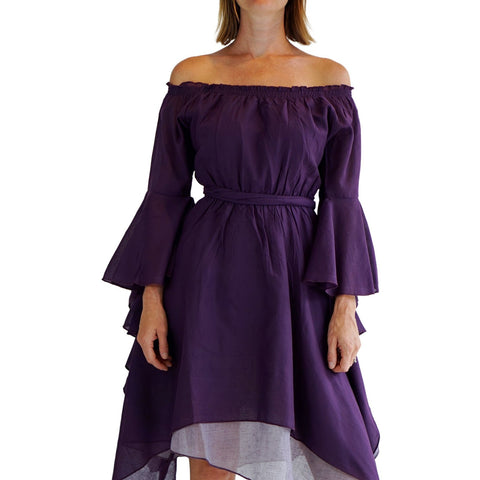 'Bell Sleeve' Renaissance Costume Dress - Purple