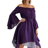 'Bell Sleeve' Renaissance Costume Dress - Purple - zootzu