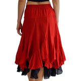 'Two Layer' Gypsy Renaissance Skirt - Red/Black - zootzu